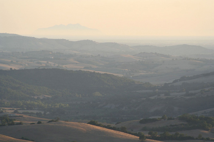 View on the Maremma and Monte Argentario from Podere Santa Pia