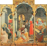 Birth of the Virgin with other Scenes from her Life, the Master of the Osservanza Triptych, ca. 1428-39, Museo d'Arte Sacra, Asciano