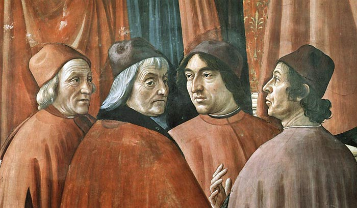 Domenico Ghirlandaio: Zachariah in the Temple [detail]: four humanist philosophers under the patronage of the Medici: