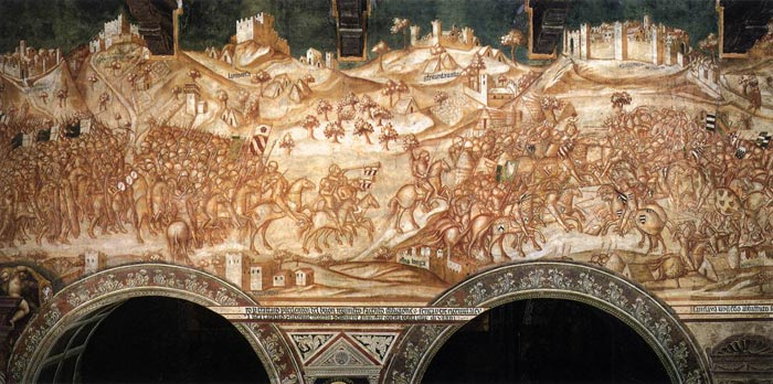 Victory of the Sienese Troops at Val di Chiana in 1363  c. 1364 Fresco Palazzo Pubblico, Siena