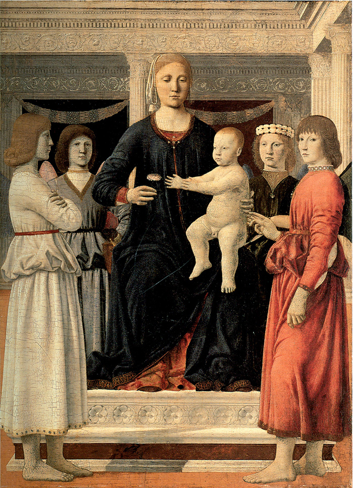 Piero della Francesca | Virgin and Child Enthroned with Four Angels