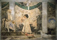 Piero della Francesca,, Sigismondo Pandolfo Malatesta Praying in Front of St. Sigismund (1451) - Fresco, Tempio Malatestiano, Rimini