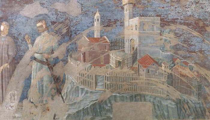 Unknown Master (first quarter of 14th century), Castle on a Hill, 1300-25, fresco in Palazzo Pubblico, Siena